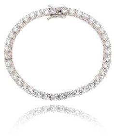 pulseira riviera prata com zirconias cristais e banho de rodio acessórios da moda