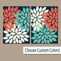 CORAL Turquoise Navy WALL Art Canvas or Prints Bathroom Artwork, Bedroom Pictures, Nursery Decor Floral Dahlia Flower Burst Petals Set of 2 by TRMdesign on Etsy https://www.etsy.com/listing/129192705/coral-turquoise-navy-wall-art-canvas-or