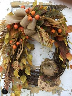 Fall Wreath for Door Autumn Wreath Rustic by FlowerPowerOhio