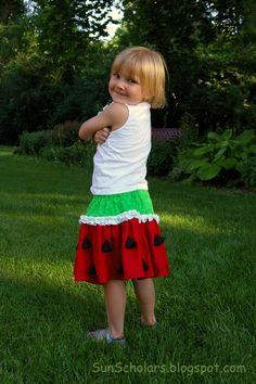 SO CUTE!!! Watermelon Skirt Tutorial!