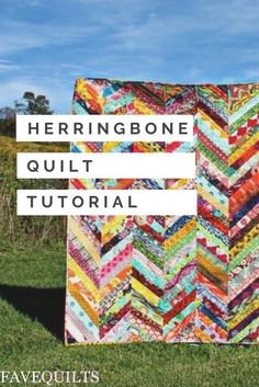 If your scrap pile has been building up lately, put those pretty fabric leftovers to good use with this Scrappy Herringbone Quilt Tutorial. You can create a brilliantly colored quilt quickly using this sew simple quilting tutorial that uses a traditi Hand Quilting Patterns, Jelly Roll Quilt Patterns, Patchwork Quilt Patterns, Quilting Tutorials, Quilting Projects, Beginner Quilting, Sewing Projects, Sewing Patterns, Jellyroll Quilts