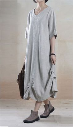 Linen Dress in Gray #bridemaid-dress #classy-dress #dress #graduation-dress #inspired #lace #linen #party-dress #plus-size #prom #vintage