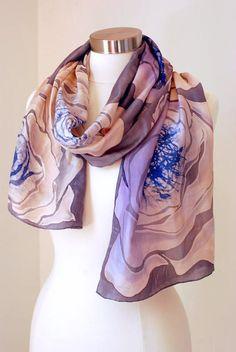 • Colors: Cobalt Blue, Ash (Grey), Dried Rose (pale Pink), Ecru, Lavender. • Authors Design •100% silk Items measurements are: • Width 14 • Length 72 This piece – unique – is created as a piece of art.