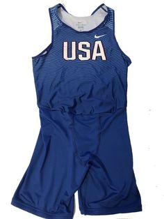 89e40da839c45 Nike USA Olympic DRI-FIT Large Men s Track Singlet Team Issued Blue White  Red