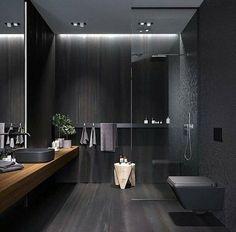 Modern Bathroom Faucets, Dark Bathrooms, Bathroom Design Luxury, Wood Bathroom, Modern Bathroom Design, Small Dark Bathroom, 50s Bathroom, Bathroom Black, Modern Bathrooms