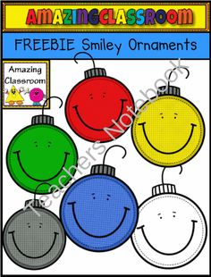 FREEBIE Smiley Ornaments from AmazingClassroom on TeachersNotebook.com (6 pages)  - This FREEBIE Smiley Ornaments Clip art Set will add fun to all of your holiday teaching creations!