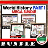 Ancient World History MEGA BUNDLE (World History Bundle), games cards, digital choice boards, digital and print timelines, word walls, guided notes, powerpoint notes, interactive notebooks