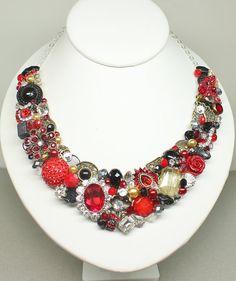 Red Statement Necklace Ruby Red Wedding Necklace by BrassBoheme