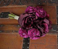 8'' Peony Rose Ranunculus Silk Bouquet in Dark Purple (Eggplant, Grape) Fall Wedding, Purple Bouquet, Winter Wedding, Vintage Style. $60.00, via Etsy.