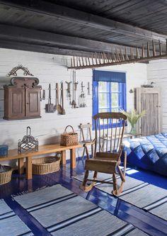 kuva Br House, Swedish Decor, Tallit, Nordic Design, Scandinavian Home, Retro Home, White Houses, Rustic Interiors, Log Homes