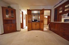 Wet bar with discreet cabinet doors!