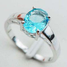 Eldove Sterling Silver Plated Rings Aquamarine