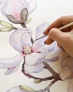 "WL 🎨 Watercolor 🖌️ Акварель on Instagram: ""Работа @a.ozerova.art"" Watercolor, Drawings, Artwork, Artist, Flowers, Blog, Drawing Art, Painting, Magnolia"