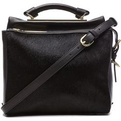3.1 phillip lim Small Ryder Satchel in Black ($1,095) ❤ liked on Polyvore featuring bags, handbags, purses, accessories, bolsas, black, black purse, leather satchel, genuine leather purse e satchel handbags