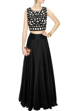 DRAPE 'N' DRAMA : Black and white embroidered crop top with black lehenga by J by Jannat. Shop at www. wear with midi flared skirt for a daytime outfit Indian Skirt, Indian Dresses, Indian Attire, Indian Wear, Indian Style, Pakistani Outfits, Indian Outfits, Indian Clothes, Ethnic Fashion