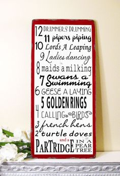 12 Days of Christmas - Typography Word Art Sign -Vintage Distressed Style. $95.00, via Etsy.