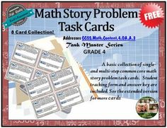 Common Core Math Story Problems - 8 Task Cards - Grade 4 - FREE from Rick's Resources on TeachersNotebook.com -  (7 pages)  - A free set of 8 math story-problem task cards. Great for whole or small group activities. Reinforces common core concepts.