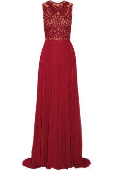 Elie Saab Embellished tulle and silk-blend georgette gown | NET-A-PORTER