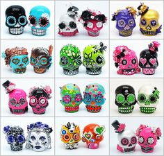 Sugar skull salt and pepper shakers used as cake toppers!