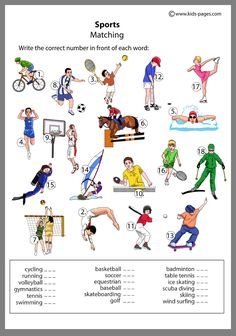 Sports Worksheets for Preschool. √ Sports Worksheets for Preschool. Sports Worksheets for Kids Activity Learning German, Teaching English, English Lessons, Learn English, Theme Sport, Matching Worksheets, Kids Pages, English Activities, Kindergarten Worksheets
