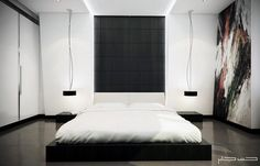 Modern Bedroom for Minimalist Home: Alluring Neat White King Sized Low Profile Modern Bed In Contemporary Master Bedroom Decorating Ideas With Art Wallpaper ~ sagatic.com Bedroom Design Inspiration