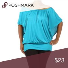 Plus Turquoise Top Off On Shoulder Ruched NEW A MUST HAVE STAPLE ITEM!   You'll LOVE adding this top into your closet! This blouse is so easy to dress up or down and it will become your turn to on many occasions! The elastic ruching along the tabs allows the top to be worn sexily off the shoulders or on them for more of a casual look. Sleeves are light and flowly with a 3/4 length. The bottom of the top has a wide waistband. Super soft and comfortable.  Made of: 94% Rayon & 6% Spandex Tops…
