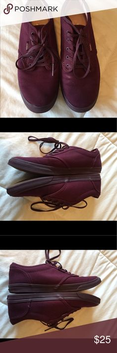 Maroon Vans Maroon Vans with slim rubber sole-Women's size 9-Normal wear on interior/Great exterior condition with a small discolored spot (see images)-Odor free-Clean and smoke free home- Vans Shoes Sneakers