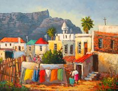 Willie Strydom - Malai Quarter x South Africa Art, African House, African Art Paintings, Landscape Paintings, Oil Paintings, South African Artists, Bear Wallpaper, City Art, Pictures To Draw
