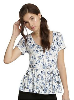 Be our guest! A beautiful top to wear to a party, this peplum top has an allover rose and character print inspired by Disney's beauty and the beast