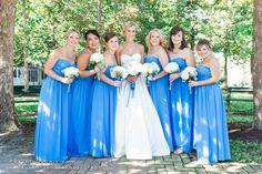 Low Country Wedding: cornflower blue bridesmaids dresses (Bill Levkoff #778)