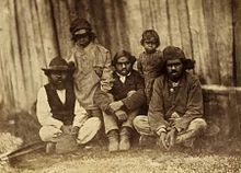 Aboriginal Farmers at Parker's Protectorate, Mt Franklin, Victoria in 1858. Aboriginal people who lost control of their lands were generally pushed into reserves or missions.