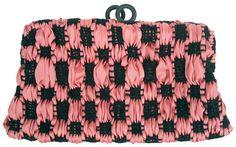 Terra pochette in handwoven fabric primitivo black and pink.