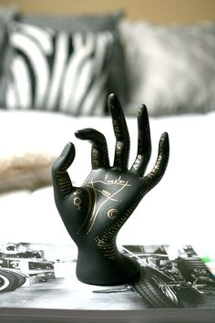 Divination:  Hand-painted Astrological Palm Reading Jewelry and Ring Holder, by Hoodzpah.