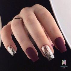 Trendy Manicure Ideas In Fall Nail Colors;Purple Nails; Fall Nai… Trendy Manicure Ideas In Fall Nail Colors;Purple Nails; Trendy Nails, Cute Nails, Cute Fall Nails, Simple Fall Nails, Cute Short Nails, New Years Eve Nails, Red Nail Designs, Burgundy Nail Designs, New Years Nail Designs