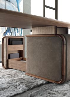 wOODY desk Materials: solid walnut + Italian leather Dimensions: x x Options: *Italian leathers + optional leather writing pad Cabinet Furniture, Table Furniture, Luxury Furniture, Home Furniture, Modern Furniture, Furniture Design, Lobby Interior, Interior Architecture, Interior Decorating