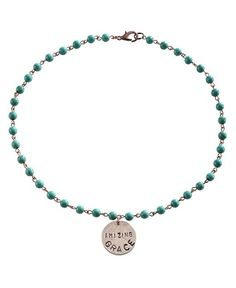 2 Queen B's Amazing Grace Quarter Charm & Faux Turquoise Beaded Necklace - Sheplers