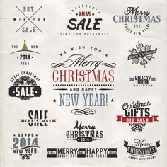 Free Vector Merry Christmas Calligraphy vintage logo and border design elements