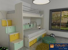 Eki design cuartos bebes decoracion infantil cuartos - Cama doble para ninos ...