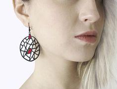 Earrings contemporary modern jewelry design FREE by DeUno on Etsy Celine, Music Jewelry, Etsy Jewelry, Jewellery, Living On The Edge, Shops, Laser Cut Wood, Modern Jewelry, Vintage Jewelry