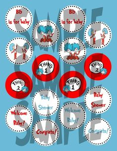 Dr. Suess baby shower ideas | Dr Seuss Thing one Thing Two 2 inch Circles or cupcake Toppers