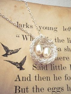 bird nest necklace bright silver 2 pearl eggs by PreciousMeshes