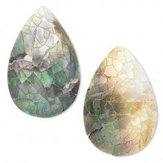 Focal, black lip shell and resin (ASBL), white, 36x24mm single-sided top-drilled teardrop. Sold per pkg of 2. - Fire Mountain Gems and Beads