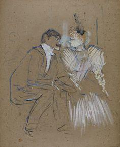 enri de Toulouse-Lautrec (French, 1864-1901), Lucien Guitry et Jeanne Grânier, 1895. Peinture à l'essence on board, 64.2 x 53 cm.