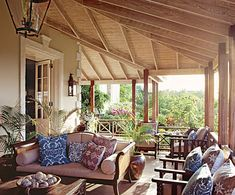 Grant White created an outdoor room for living with British Colonial elan on the upper veranda of home in Mustique. Photo by Tim Beddow for Architectural Digest. Outdoor Rooms, Outdoor Living, Outdoor Couch, British Colonial Decor, Colonial India, Decor Scandinavian, Tropical Houses, Tropical Patio, Architectural Digest