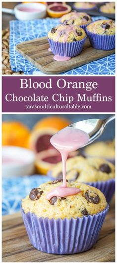 Blood Orange Chocolate Chip Muffins - Tara's Multicultural Table- These light and crumbly muffins are packed with blood orange zest/juice and chocolate chips, then drizzled with a sweet blood orange glaze. #recipe #bloodorange #Orange #citrus #chocolate #chocolatechip #muffin #breakfast #brunch