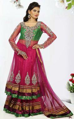 USD 347.04 Pink Net Zardosi Work Designer Lehenga Choli 30193