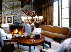 so lodgey and cozy...love the drapes! McAlpine Booth & Ferrier Interiors