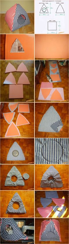 15 Super Fun DIY cat tent ideas to track # Diy Pour Chien, Diy Old Tshirts, Niche Chat, Diy Cat Tent, Dog Tent, Cat House Diy, Weenie Dogs, Animal Projects, Diy Bed