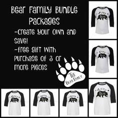 Bear Family Custom Bundle Package - Make Your Own Package and Save! Choose from 2 or more shirts to