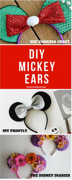 """These DIY Mickey Ears tutorials will have you and your family park ready in no time! Not only are they a super fun project for the whole family, they're an awesome way to save some money, and you can get a jump on your """"DisneyBounding""""!"""